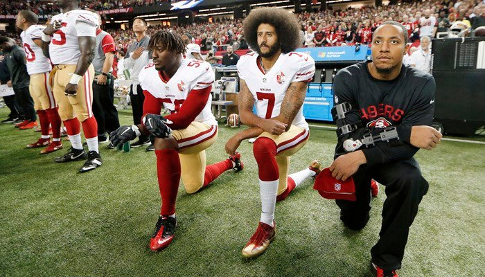Former San Francisco quarterback Colin Kaepernick began sitting, and later kneeling, during the national anthem in the 2016 preseason in protest of police violence against minorities in the U.S. (AP Photo/John Bazemore, File)