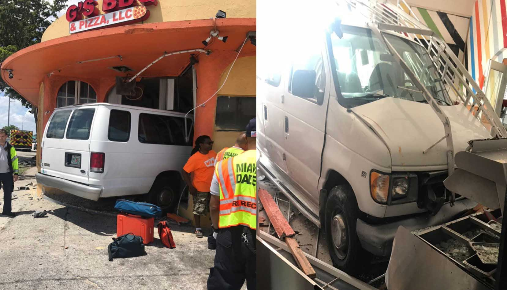 A church van with children inside crashed into a North Miami restaurant Wednesday. (Source: WPLG/CNN)