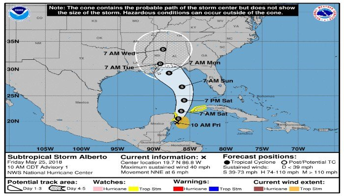 SubTropical Storm Alberto Path Projection from Alan Sealls