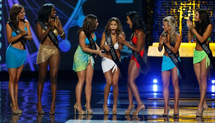 The Miss America competition will no longer have a swimsuit portion of the program, the chair of the board of directors announced Tuesday. (AP Photo/Noah K. Murray)