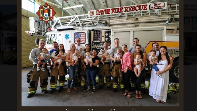 There may be something in the water over at a Florida fire department, after it welcomed nine babies in a 10-month span. (Source: Davie Fire Rescue/Twitter)