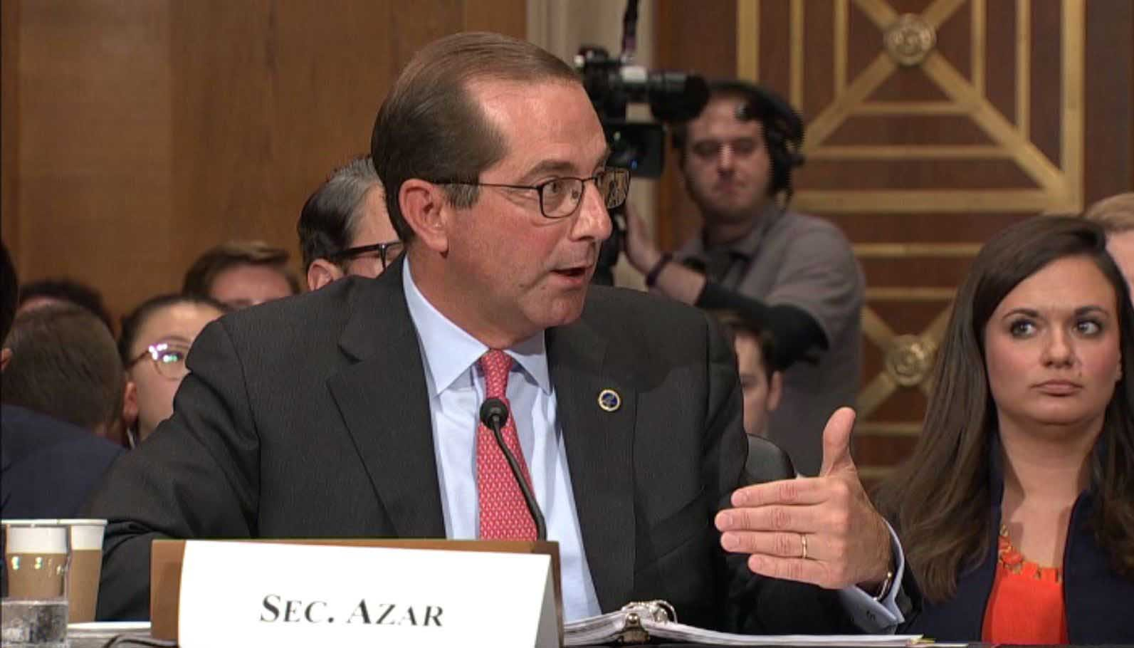 HHS Secretary Alex Azar was grilled on Capitol Hill as he gave details on the Trump administration's strategy to lower prescription drug prices. (Source: CNN/Pool)