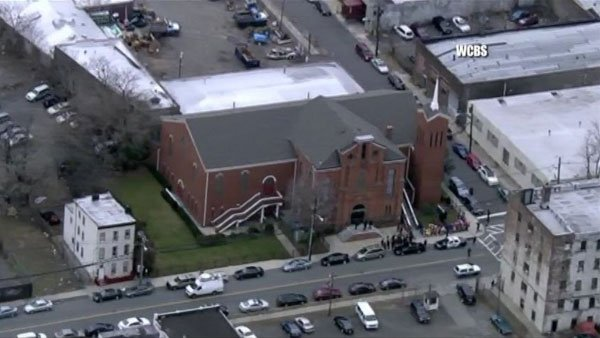 Whitney Houston's memorial is being held at New Hope Baptist, the church she attended as a child in Newark, NJ. (Source: CNN/WCBS)