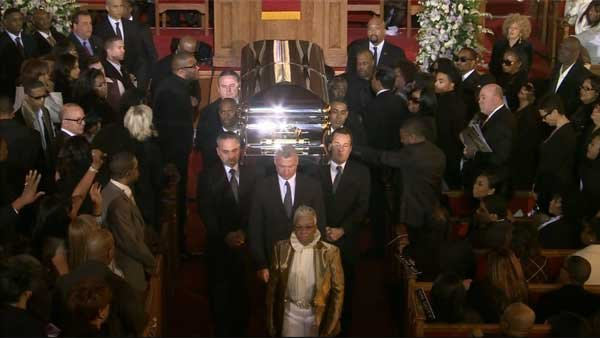 Close to 1,500 family and friends gather at New Hope Baptist Church to celebrate the life of Whitney Houston on Saturday. (Source: CNN)