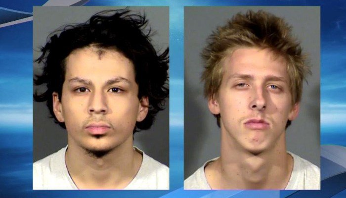 Jaiden Caruso, 16, and Kody Harlan, 17, were arrested in the case. (Source: KSNV/Las Vegas Metropolitan Police Department/CNN)
