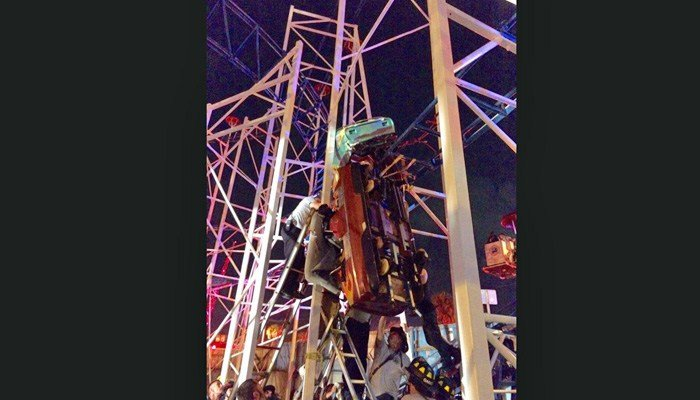 The coaster which derailed is the Sand Blaster, a three-car, sit-down ride that operates on a winding steel track. (Source: Dayton Beach Fire Department)
