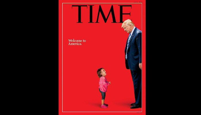 The mash-up of President Trump and a crying child makes the immigration debate personal. (Source: Time/CNN)