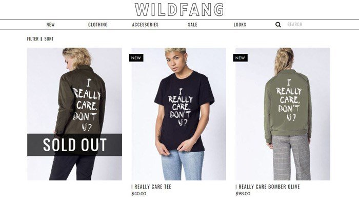 The company quickly sold out of its first version of the jacket, but is now offering T-shirts, hoodies and bomber jackets. (Source: Wildfang.com)