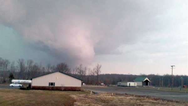 A WAVE viewer's photo of a tornado touching down in Carroll County, IN. (Source: WAVE)