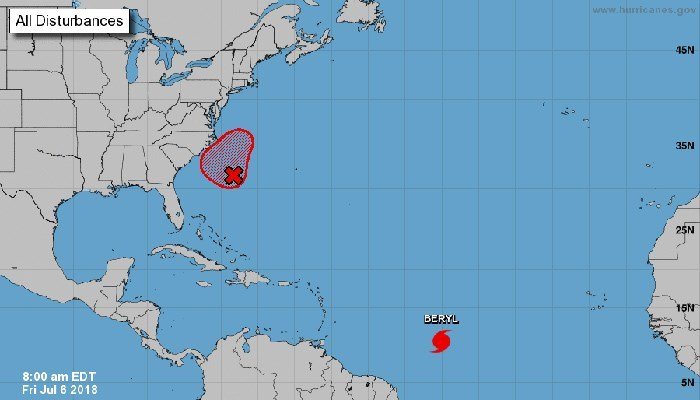 A tropical system may cause headaches in the Carolinas. Hurricane Beryl, however, is not expected to cause the U.S. problems. (Source: NHC)