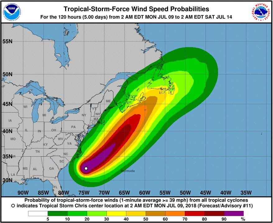 The National Hurricane Center said Tropical Storm Chris was about 210 miles south-southeast of Cape Hatteras, NC, in its 11 p.m. ET report. (Source: NHC)