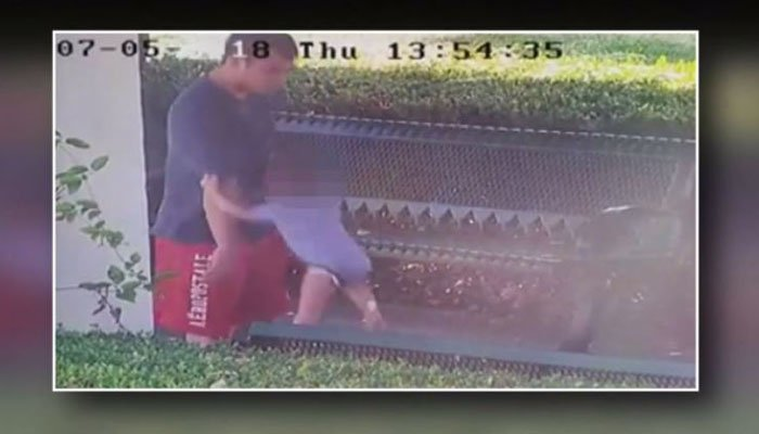 One police officer was so upset after seeing the footage he tracked down the suspect on his own, according to one of his colleagues. (Source: Mike Ogden/KCAL/KCBS/CNN)