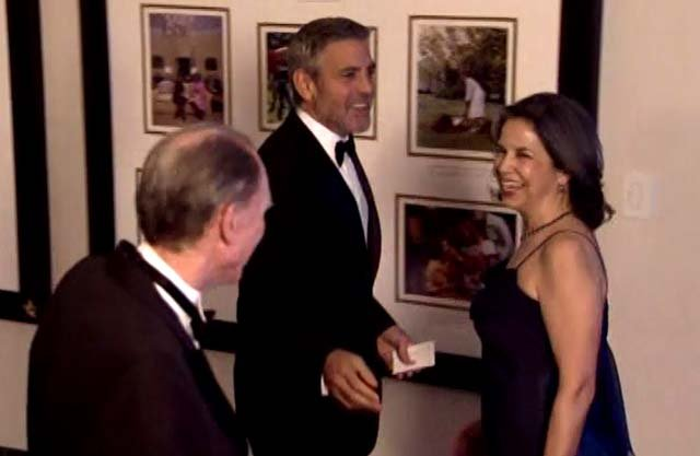 Actor George Clooney arrives at the White House State Dinner for British Prime Minister David Cameron in Washington on Wednesday, March 14, 2012. (Source: POOL/CNN)