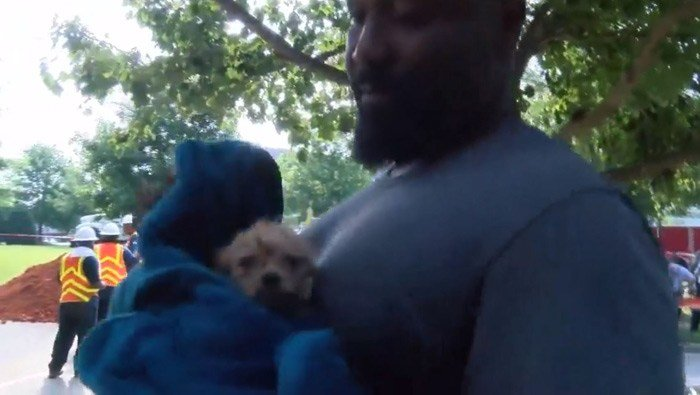 The puppy was rescued and returned to its owners Thursday. (Source: WBTV)