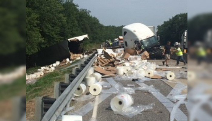 """Indiana State Police described the driver as """"distracted by a bug that flew into his semi"""" through the window. (Source: Indiana State Police)"""