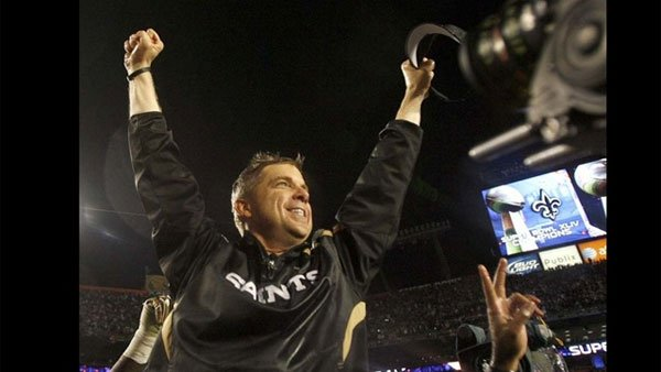 Sean Payton, head coach of the New Orleans Saints, celebrates after his team won Super Bowl XLIV. (Source: Ted Jackson/The Times-Picayune)