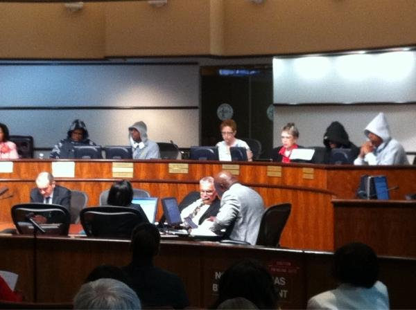 Four members of the Birmingham, AL, city council wore hoodies to the Tuesday meeting to show solidarity with Trayvon Martin. (Source: WBRC)