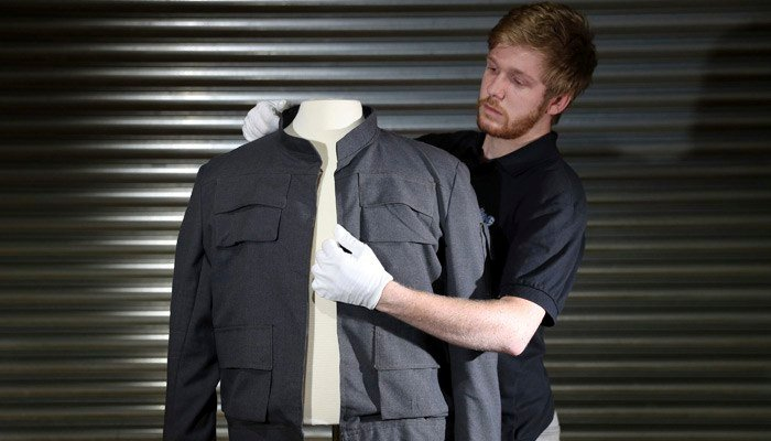 A jacket from a Star Wars movie is expected to fetch over $1.3 million when film enthusiasts are treated an auction of rare movie memorabilia. (Source: Andrew Matthews/PA via AP)