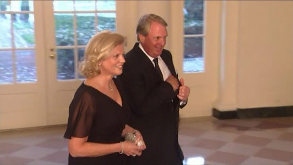 "Virginia ""Ginni"" Rometty, seen with husband Mark, has not been asked to join the Augusta National Golf Club, home of The Masters. The CEO of IBM is the first officer of the event's sponsors to not be invited. (Source: CNN)"
