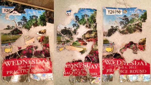 The remains of three of Russ Berkman's Masters Tournament tickets. (Source: Russ Berkman/Sports Radio KJR)