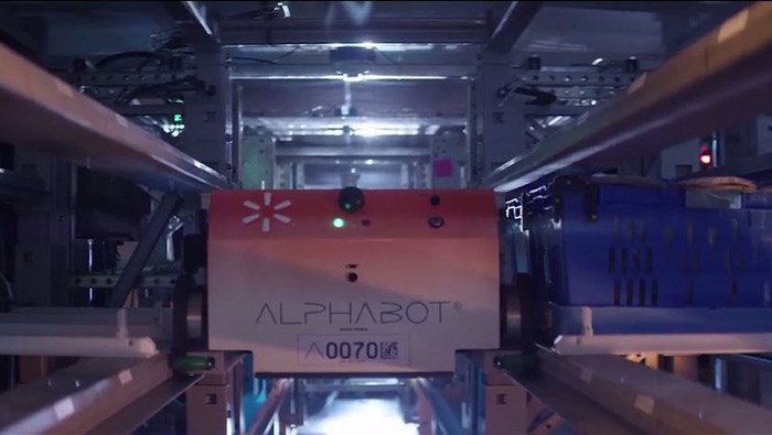 The automation system, called Alphabot, is being developed by Alert Innovation. Walmart plans to have it up and running by the end of the year. (Source: Alert Innovation/Walmart/CNN)