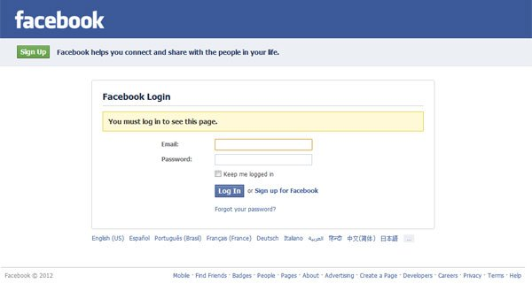 A screen grab of the Facebook log in screen. (Source: RNN)