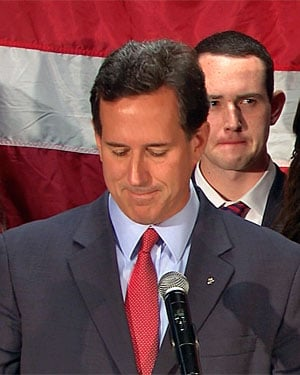 Rick Santorum announces to supporters in Gettysburg, PA, that he is dropping out of the GOP race for the White House. (Source: CNN)