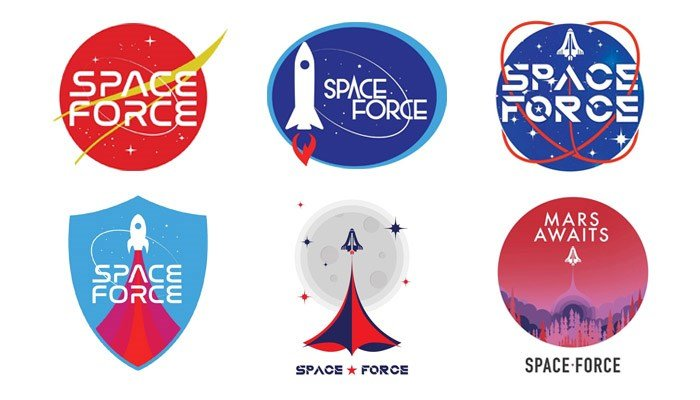 The Trump campaign wants donors to vote on one of six logos for the Space Force. (Source: Trump Campaign)
