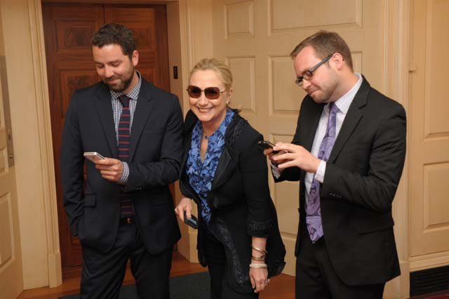 "The creators of the spoof blog ""Texts from Hillary Clinton,"" Stacy Lambe, left, and Adam Smith, right, met with the subject of their satire, the Secretary of State Hillary Clinton. (Source: TextsFromHillar.tumblr.com)"