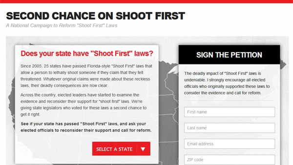 The Second Chance on Shoot First campaign was launched Wednesday by a group of politicians and civil rights groups. (Source: RNN)