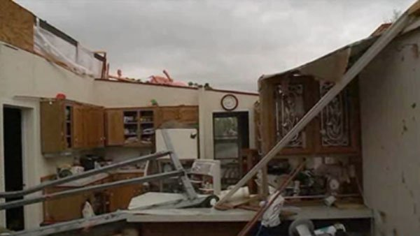Little is left of Larry Hill's home after severe weather in Thurman, IA Saturday. According to the National Weather Service, approximately 75 percent of the town is gone. (Source: KETV/CNN)