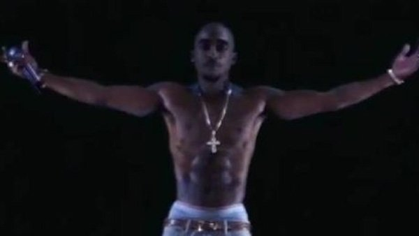 A realistic hologram of rapper Tupac Shakur took the stage at the Coachella music festival Sunday. (Source: YouTube)