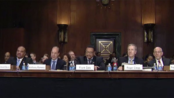 From left, Ronald Davis, Anthony Romero, Frank Gale, Roger Clegg and David Harris testify during the Senate Judiciary Committee Tuesday. (Source: U.S. Senate Committee on the Judiciary)