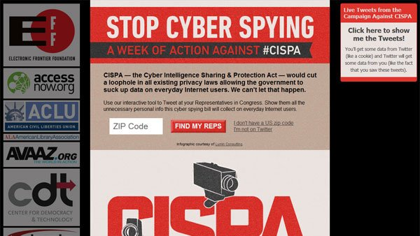 The Electronic Frontier Foundation launched the 'Stop Cyber Spying' campaign in conjunction with a number of other privacy and civil rights organizations to protest the Cyber Intelligence Sharing and Protection Act. (Source: EFF)