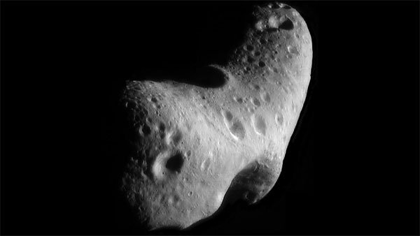 This image, taken by NASA's Near Earth Asteroid Rendezvous mission in 2000, shows a close-up view of Eros, an asteroid with an orbit that takes it somewhat close to Earth. (Source: NASA/JHUAPL)