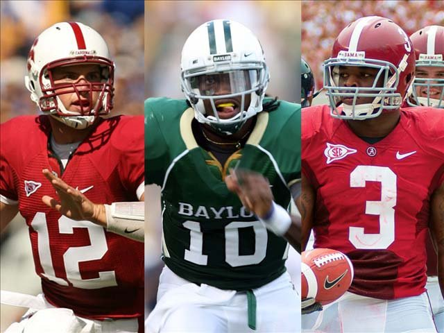 From left, Stanford quarterback Andrew Luck, Baylor quarterback Robert Griffin III and Alabama running back Trent Richardson are expected to be early selections in the 2012 NFL Draft on Thursday. (Source: Dave Gonzales/Baylor University/Mitchell Hughes)