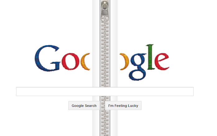 Google's homepage unzips with a click to honor the developer of the famous fastener. (Source: RNN)