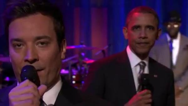 President Barack Obama and Jimmy Fallon talks about student loans to the students of the University of North Carolina. (Source: YouTube)