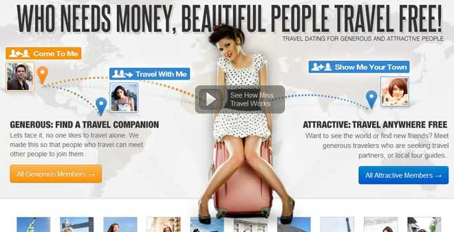 The website MissTravel.com offers a two-step process for woman looking to both date and travel at the same time. (Source: MissTravel.com)