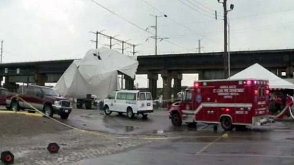 One person died in a tent accident while fans were celebrating a St. Louis Cardinals victory (Source: KSDK/CNN)