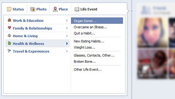 Users can find the organ donor form by clicking the Life Event button and scrolling to the Health and Wellness tab on their Facebook Timeline. (Source: Facebook)