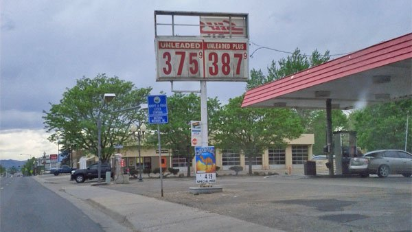 A sign for a gas station in Wheat Ridge, CO. At $3.72, the price is 10 cents cheaper than the national average. (Source: Paul Swansen/Flickr)
