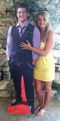 Iowa teenager Rachel Bird took a cutout of her dream date to prom - Tim Tebow. (Source: Rachel Bird)