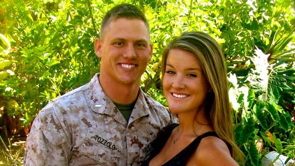 Allee Campbell, shown here with her Marine boyfriend, 1st Lt. Mike Tozzolo, started a social networking website where friends and family of military personnel can connect. (Source: Allee Campbell)
