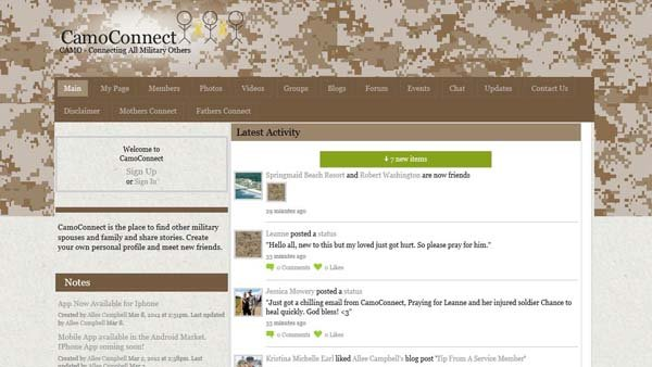 CamoConnect.com is a website where friends and family of those in the military can make connections.
