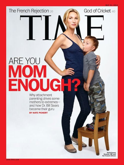 "The cover is meant to illustrate ""attachment parenting."" (Source: TIME magazine)"