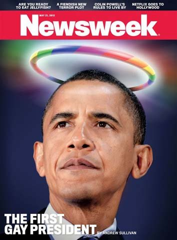 The May 21 issue of Newsweek features Pres. Barack Obama on the cover with the headline, 'The First Gay President.'(Source: Newsweek)
