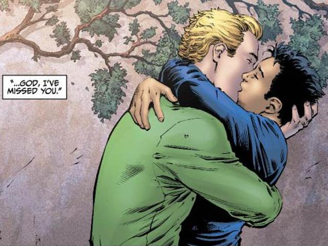 Alan Scott embraces his boyfriend in the upcoming 'Earth 2' No. 2. (Source: DC Comics)