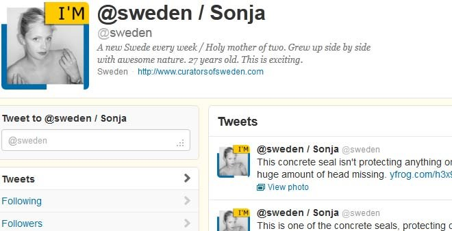 A woman named Sonja, described on the Curators of Sweden website as a 27-year-old single mother of two, has caused a public relations disaster for the entire country while in procession of the account. (Source: Twitter)