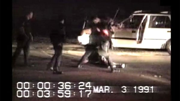 A still from the video which showed Los Angeles police officers beating Rodney King. (Source: WikiCommons)